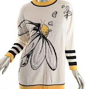 "RARE St. John sweater ""Bee Pollinating Flower"""